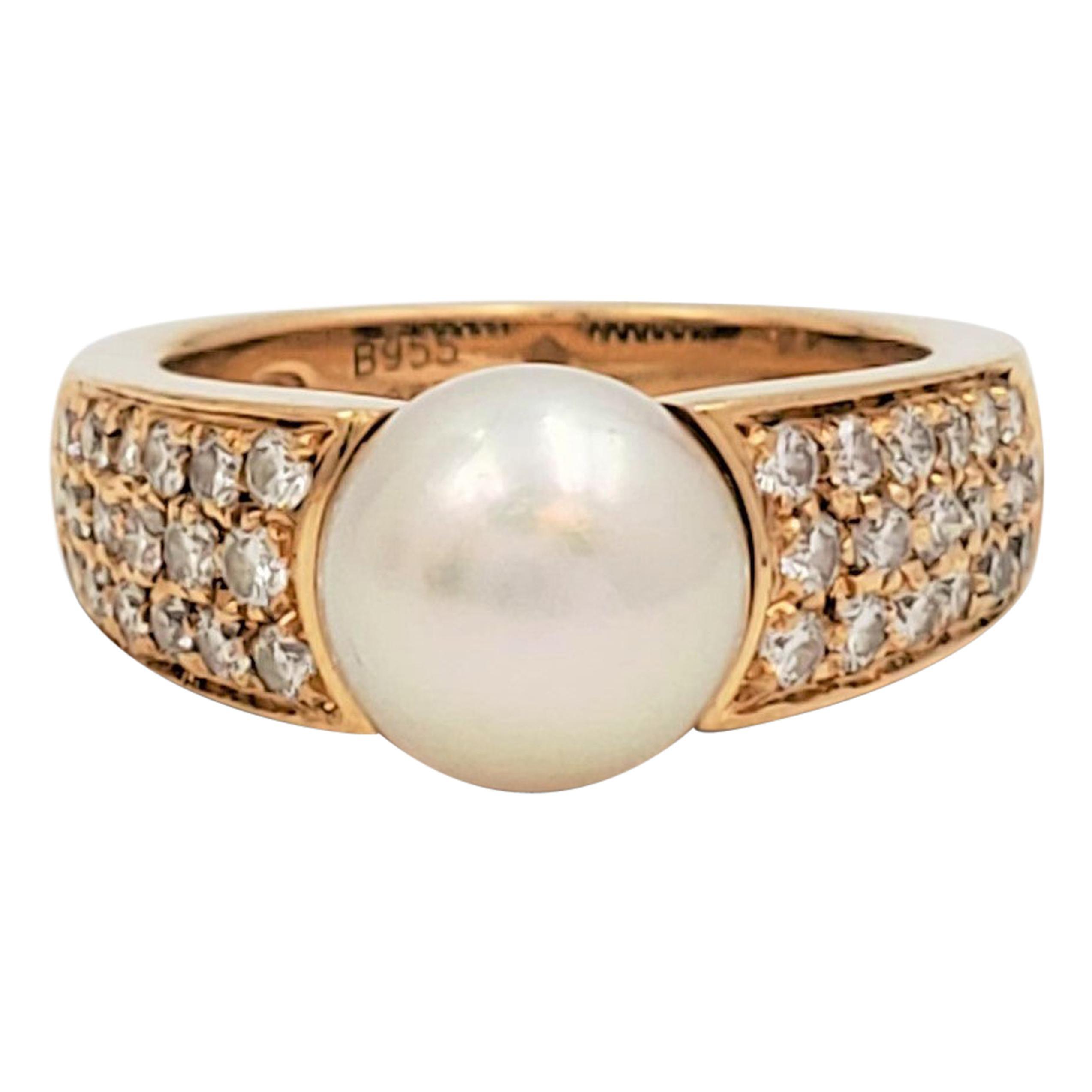 Vintage Boucheron Gold Pearl and Diamond Ring