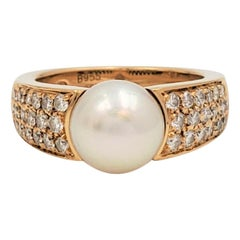 Vintage Boucheron Gold Pearl and Diamond Ring