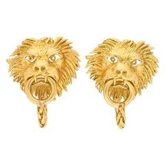 Vintage Boucheron Lion Door Knocker Cufflinks Set in 18k Yellow Gold