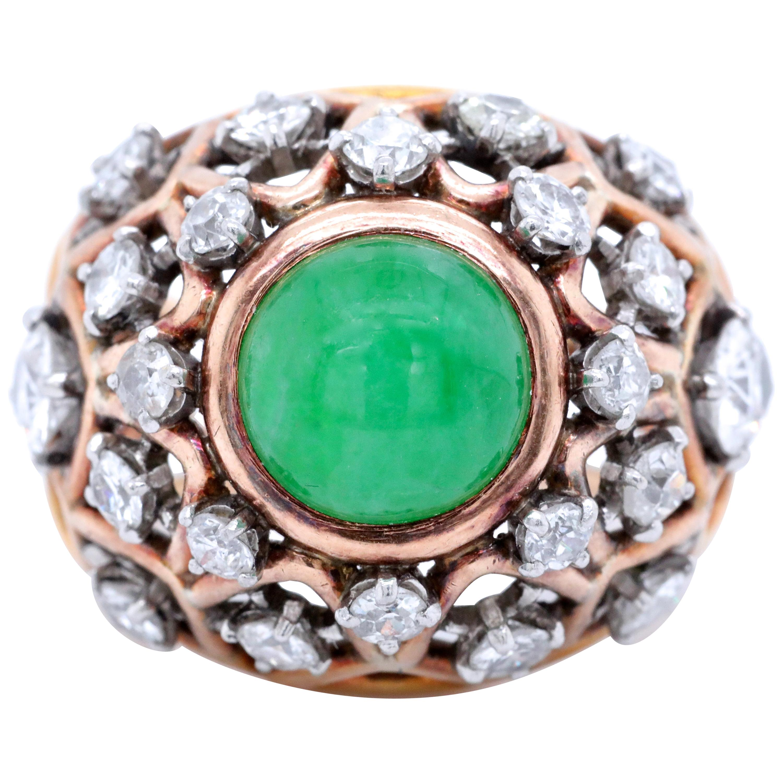 Vintage Boucheron Paris Diamond Jadeite 18 Karat Gold Bombé Ring