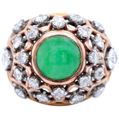 Vintage Boucheron Paris Diamond Jadeite 18 Karat Gold Bombé Ring