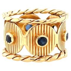 Vintage Boucheron Paris Sapphire 18 Karat Gold Band Ring