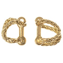 Vintage Boucheron Woven Chain Cufflinks in 18 Karat Gold, French, circa 1950
