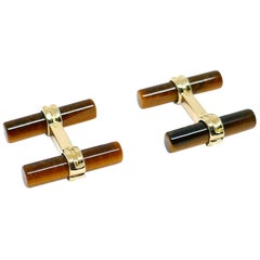 Vintage Boucheron Yellow Gold Tiger Eye Rock Crystal Interchangeable Cufflinks