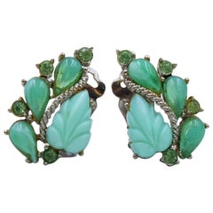 Vintage Bousseau Green Plastic Leaf Ornament Earrings 1950's