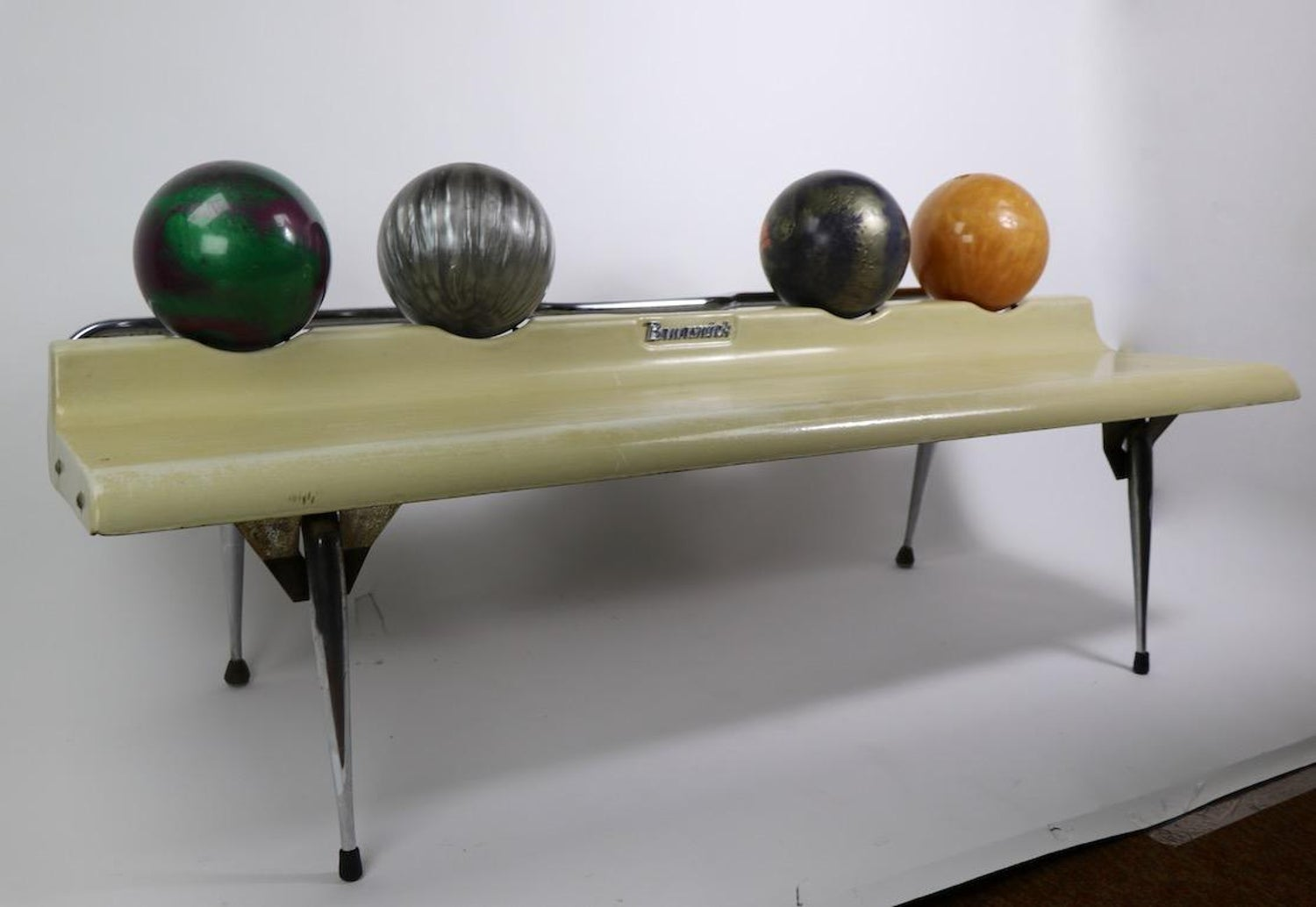 Amazing Vintage Bowling Ball Bench By Brunswick At 1Stdibs Gmtry Best Dining Table And Chair Ideas Images Gmtryco