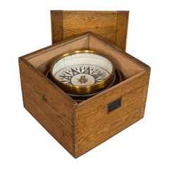 Vintage Box Compass, English, Oak, Brass, Gimbal, Maritime, Navigation, Aid
