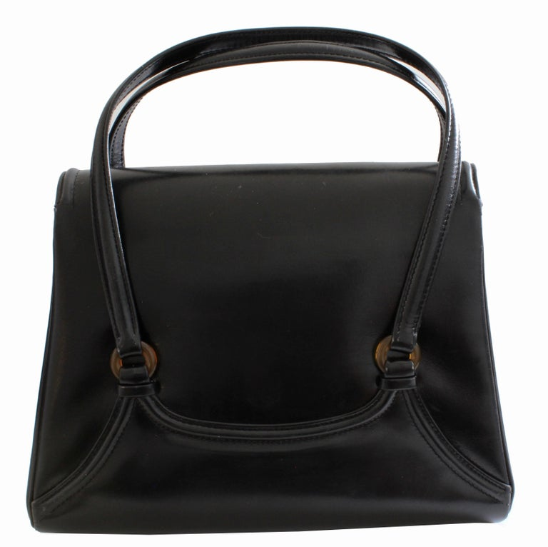 Bonwit Teller Made In Italy Vintage Box Leather Handbag With Bakelite Hardware Excellent Condition For