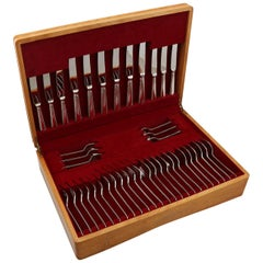 Vintage Boxed English Sterling Silver Canteen of Cutlery for Six Persons