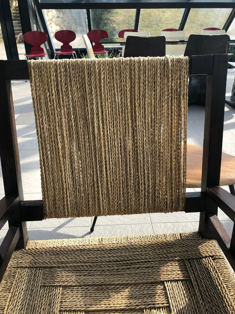 French Vintage Braided Wicker and Wood Armchair by Francis Jourdain For Sale
