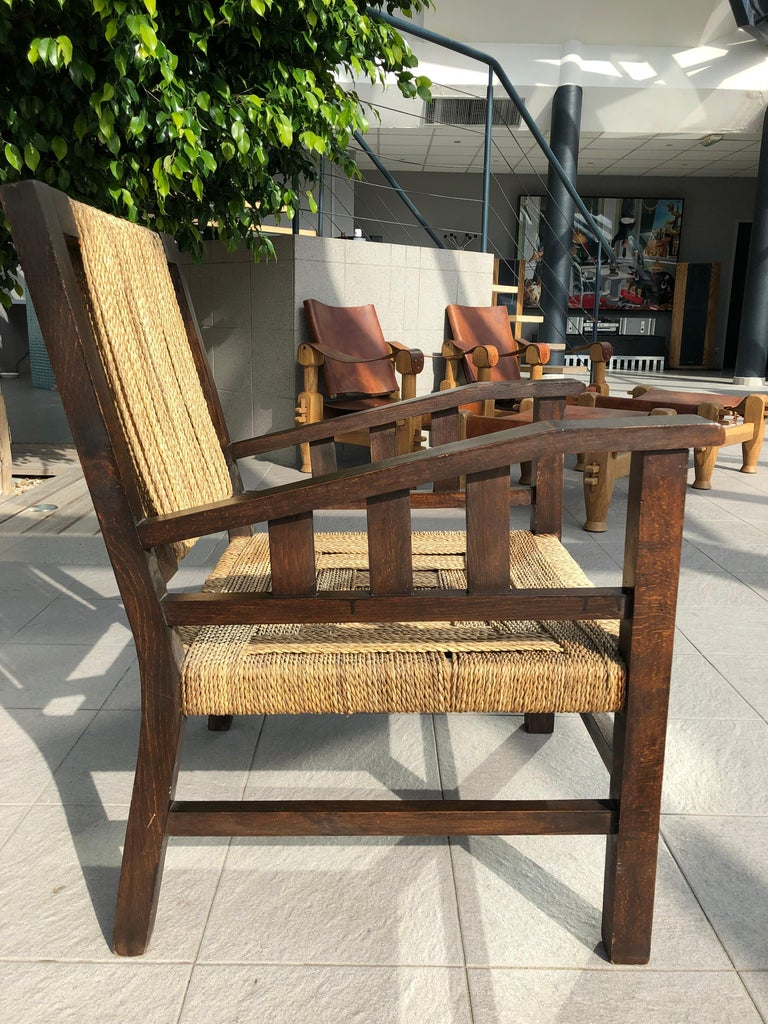 Vintage Braided Wicker and Wood Armchair by Francis Jourdain In Good Condition For Sale In Avignon, Vaucluse