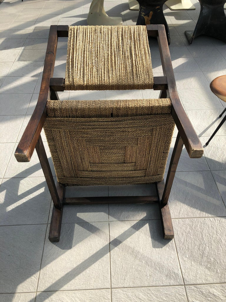 Mid-20th Century Vintage Braided Wicker and Wood Armchair by Francis Jourdain For Sale