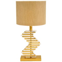 Vintage Brass and Acrylic Table Lamp