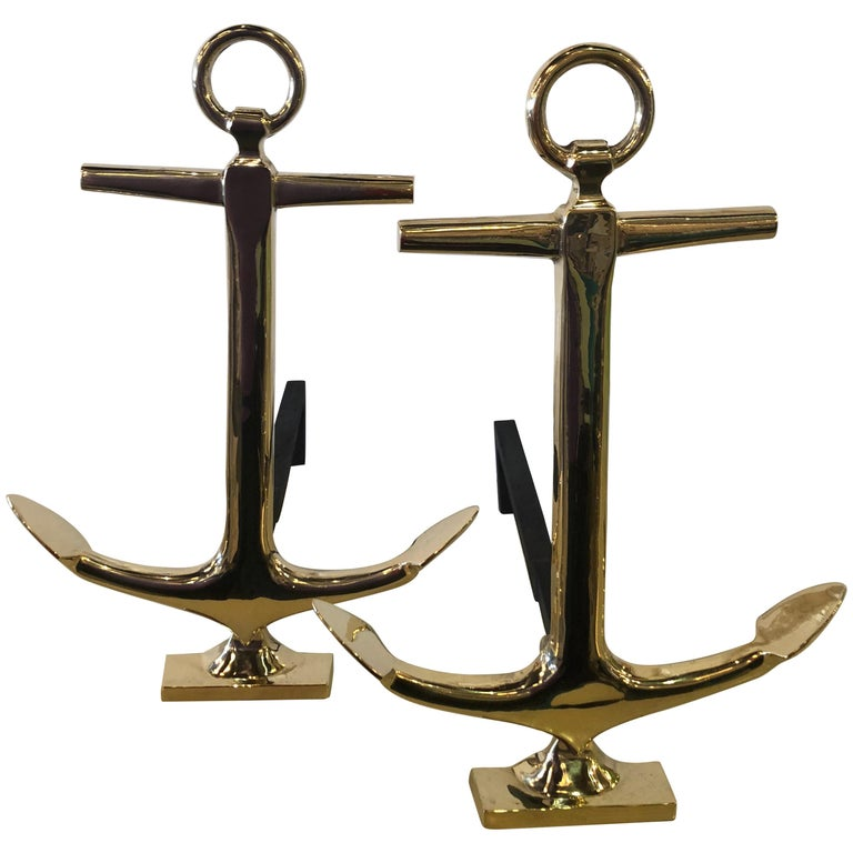 Vintage Brass Anchor Fireplace Andirons Palm Beach, a Pair For Sale