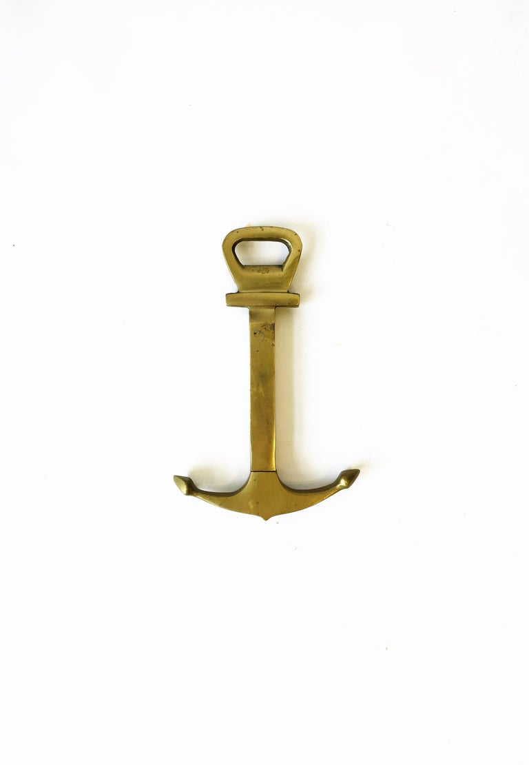 European Vintage Brass Anchor Wine and Bottle Cap Opener For Sale