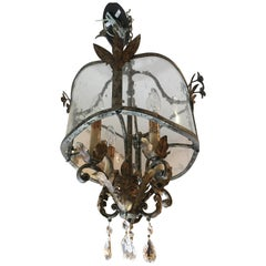 Vintage Brass and Aged Glass Chandelier Lantern