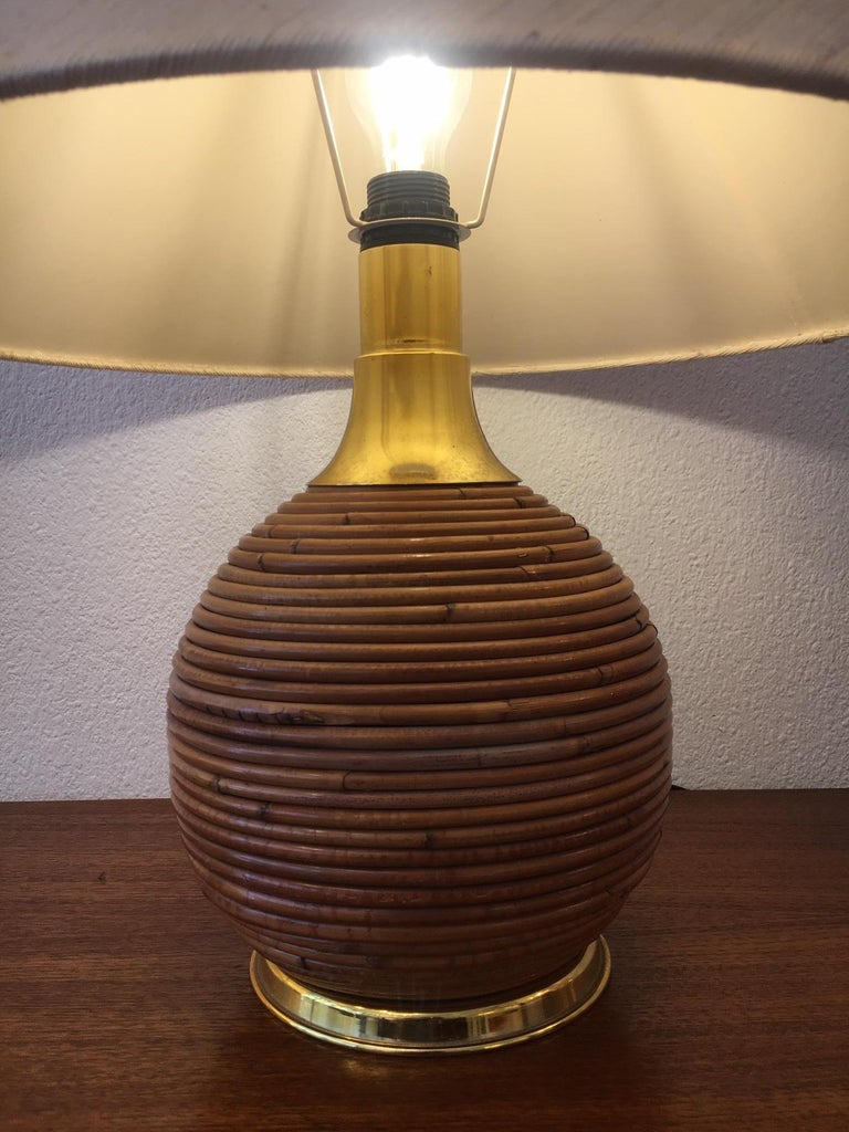 European Vintage Brass and Bamboo Table Lamp, 1970s