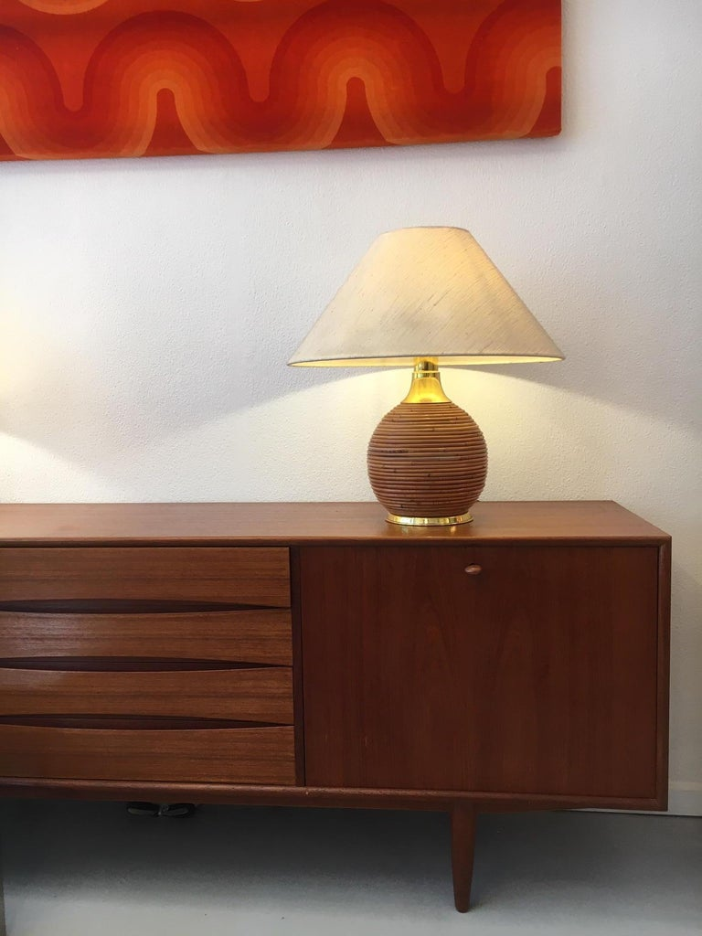 Vintage Brass and Bamboo Table Lamp, 1970s 1