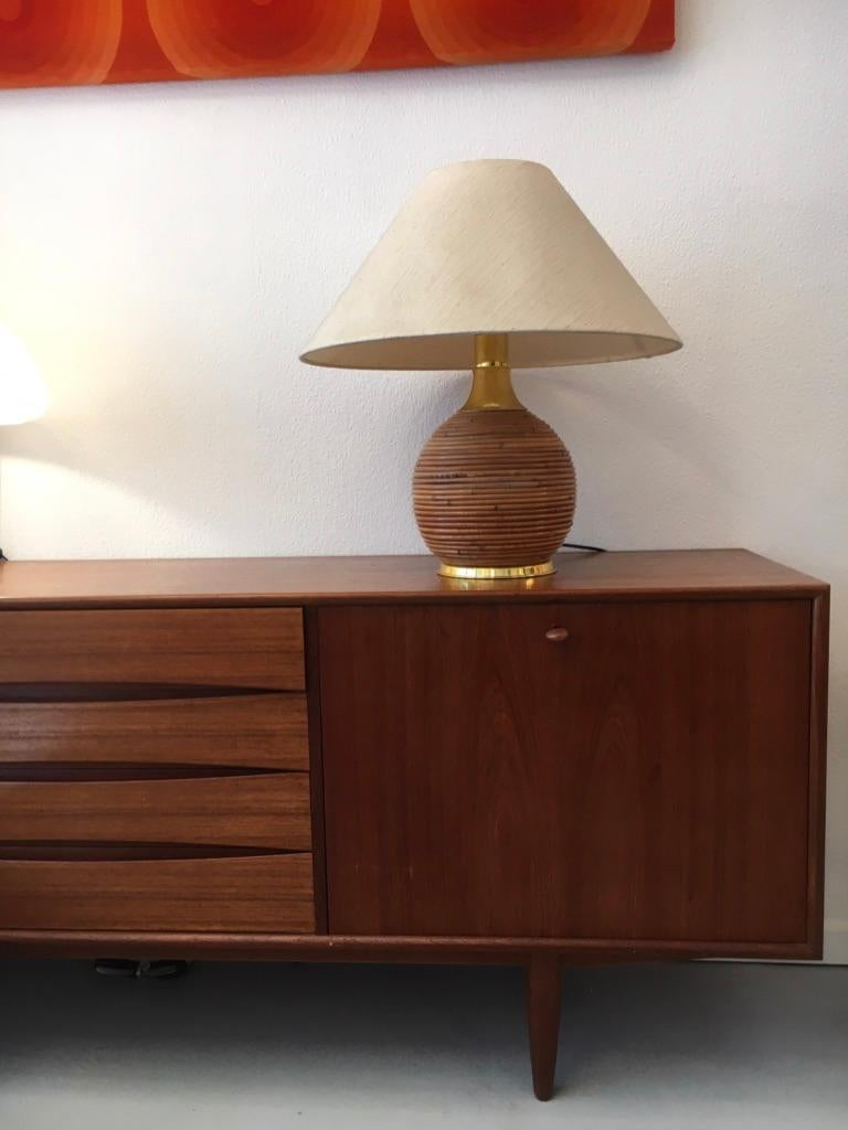 Vintage Brass and Bamboo Table Lamp, 1970s 2