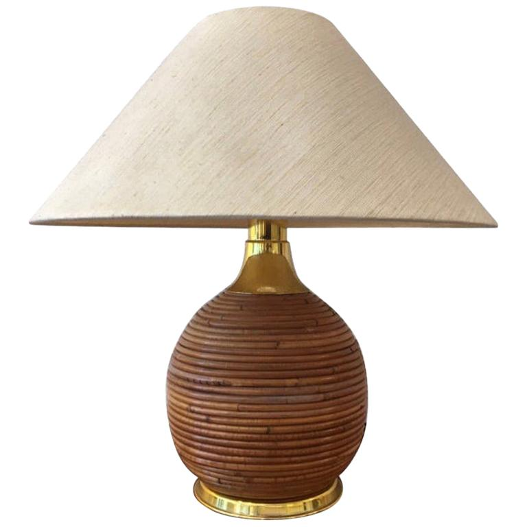 Vintage Brass and Bamboo Table Lamp, 1970s