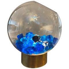 Vintage Brass and Bleu Murano Rock Lampe