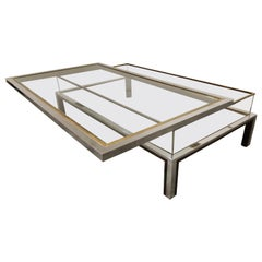Vintage Brass and Chrome Sliding Top Coffee Table, 1970s