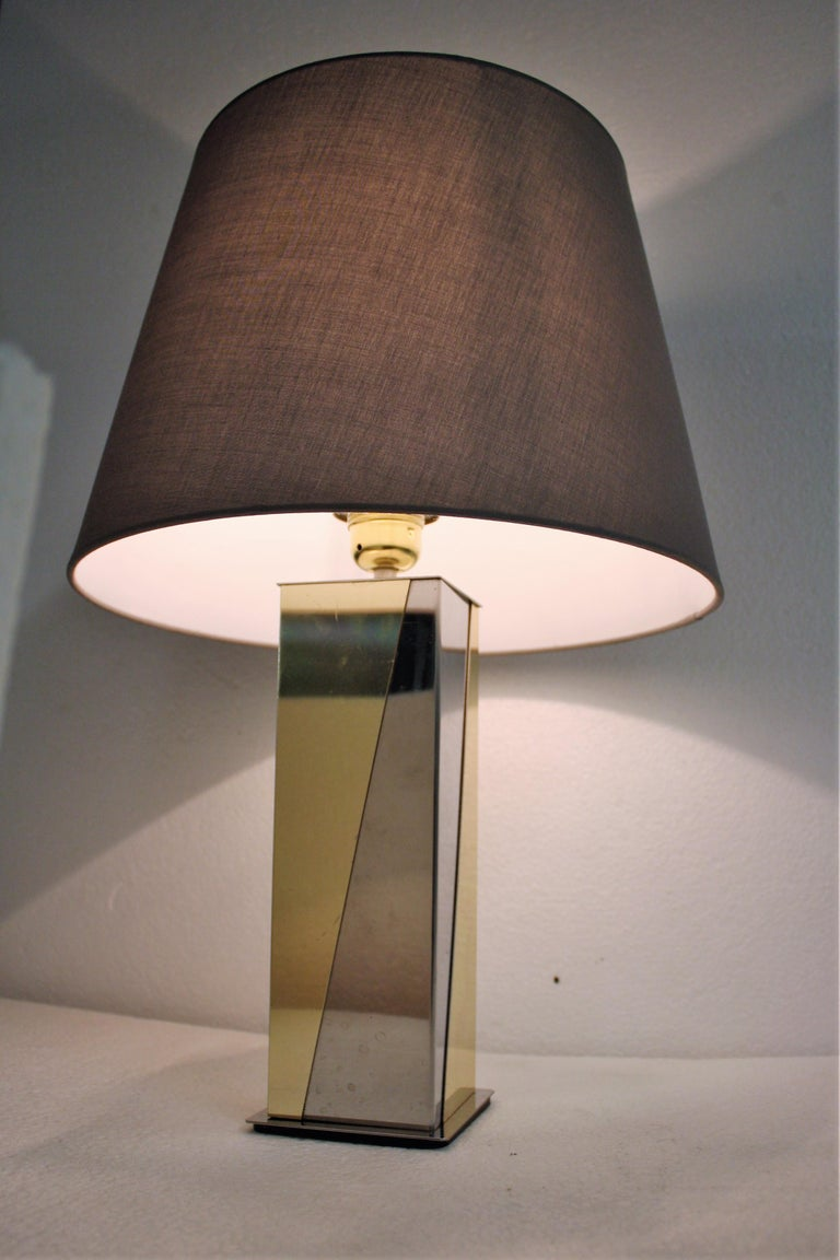 Hollywood Regency Vintage Brass and Chrome Table Lamp, 1970s For Sale