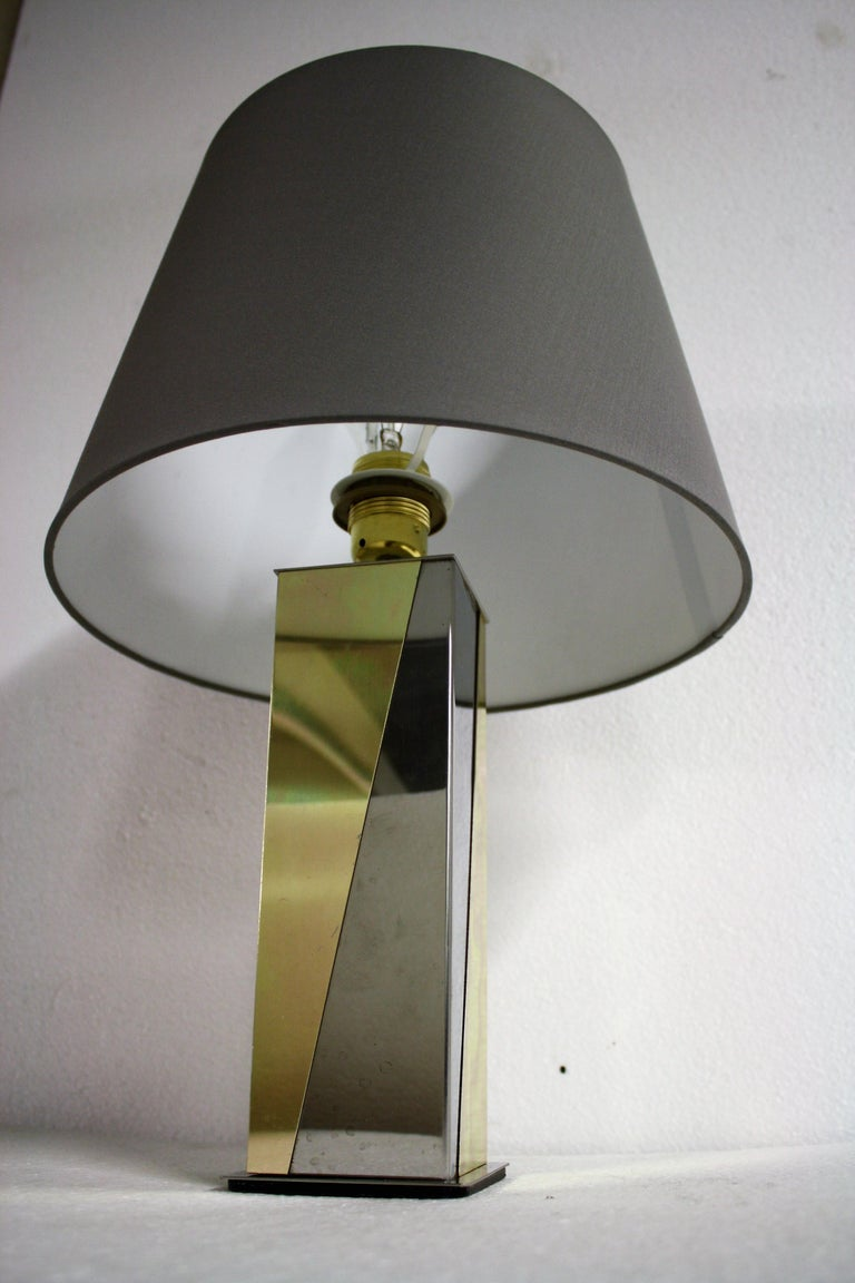 Belgian Vintage Brass and Chrome Table Lamp, 1970s For Sale