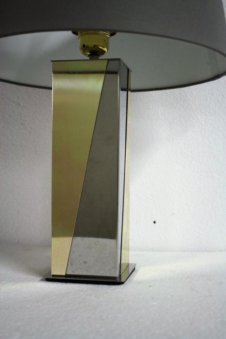 Metal Vintage Brass and Chrome Table Lamp, 1970s For Sale