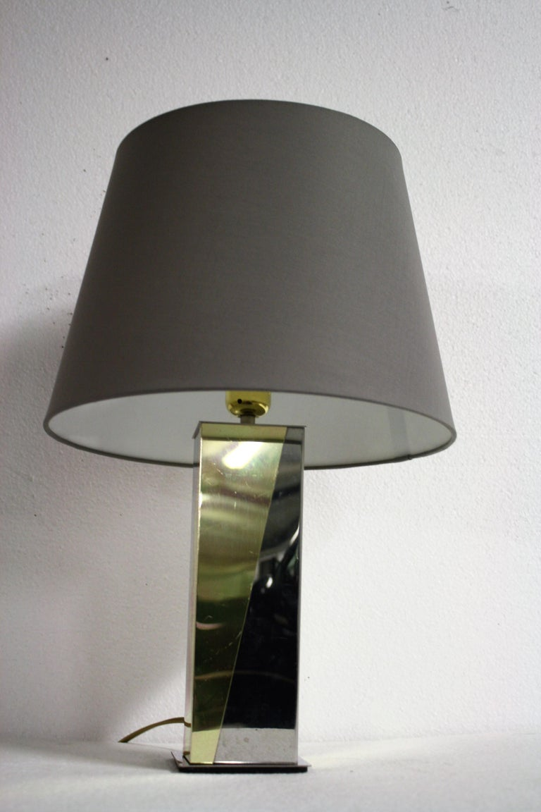 Vintage Brass and Chrome Table Lamp, 1970s For Sale 1