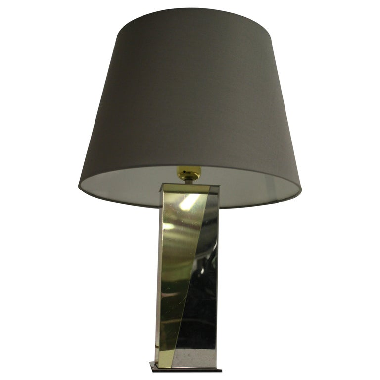 Vintage Brass and Chrome Table Lamp, 1970s For Sale