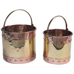 Vintage Brass and Copper Buckets, England, circa Early 20th Century