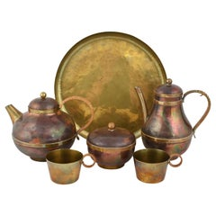 Vintage Brass and Copper Centrepiece and Tea Set by Harald Buchrucker, 1950s