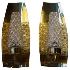 Vintage Brass and Cut Crystal Wall Sconces by Hags, Austria, Vienna, 1950s
