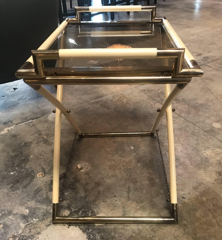 Modern Vintage Brass and Glass Cocktail Table For Sale