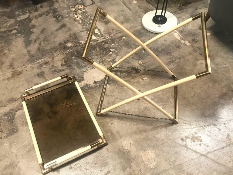 Vintage Brass and Glass Cocktail Table For Sale 2