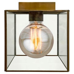Vintage Brass and Glass Cube Flushmount Light Fixture