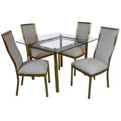 Vintage Brass and Glass Dining Set
