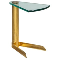 Vintage Brass and Glass End Table