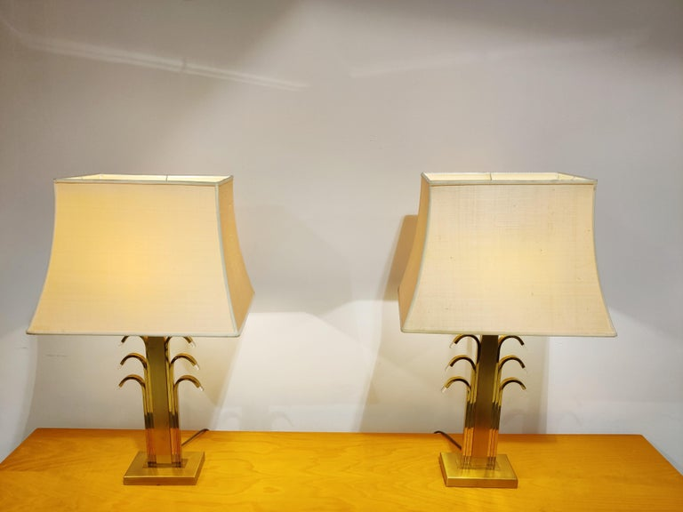 German Vintage Brass and Glass Table Lamps, 1970s For Sale