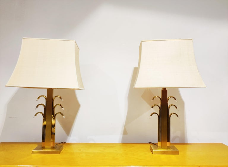 Vintage Brass and Glass Table Lamps, 1970s For Sale 1