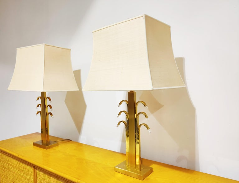 Vintage Brass and Glass Table Lamps, 1970s For Sale 2