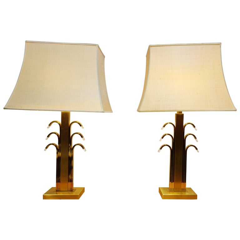 Vintage Brass and Glass Table Lamps, 1970s For Sale