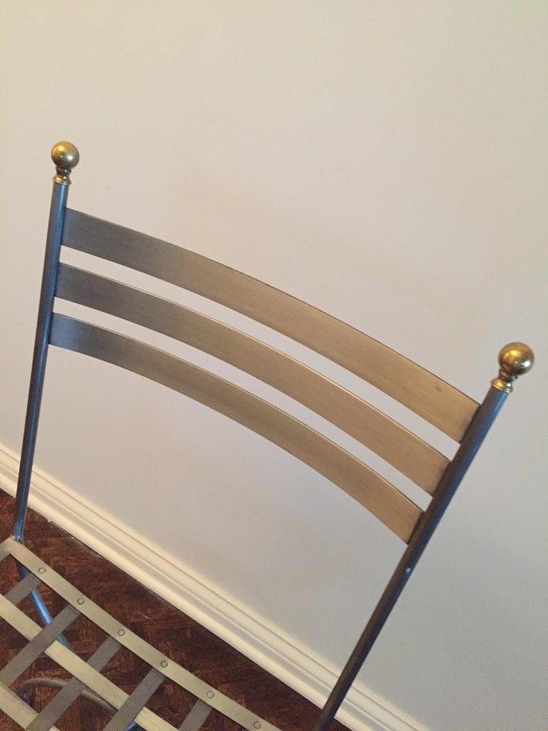 American Vintage Brass and Iron Savonarola Side Chair For Sale