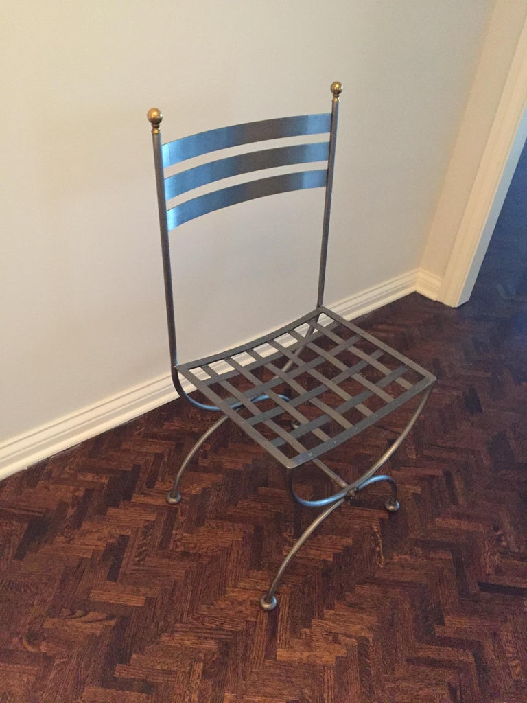 Vintage Brass and Iron Savonarola Side Chair In Good Condition For Sale In Chicago, IL