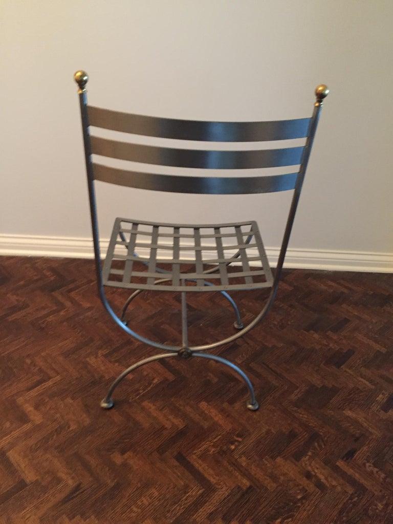20th Century Vintage Brass and Iron Savonarola Side Chair For Sale