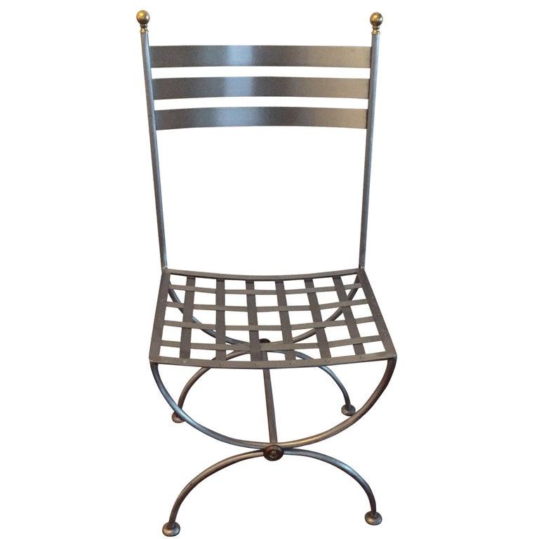 Vintage Brass and Iron Savonarola Side Chair For Sale