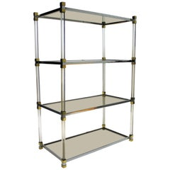 Vintage Brass and Lucite Etagere, 1970s