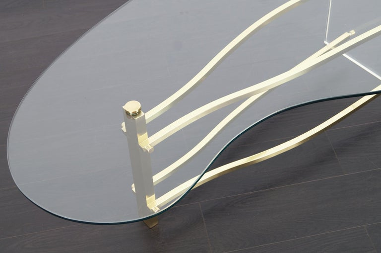 Vintage Brass and Lucite Kidney Shaped Coffee Table For Sale 5