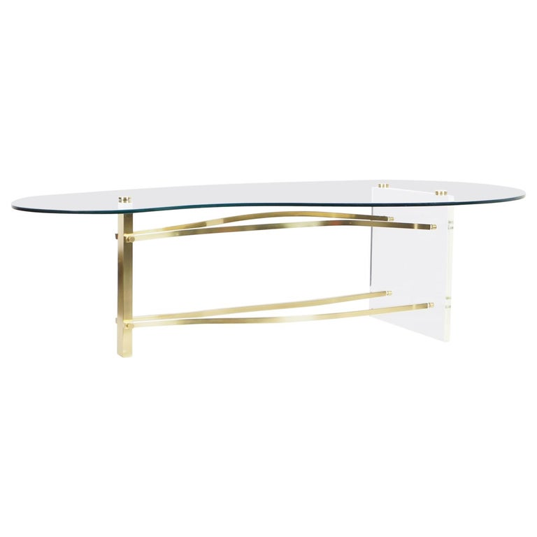 Vintage Brass and Lucite Kidney Shaped Coffee Table For Sale